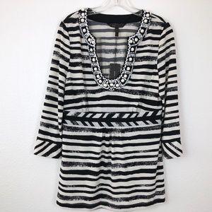 BCBGMaxAzria NWT Striped  Embellished top